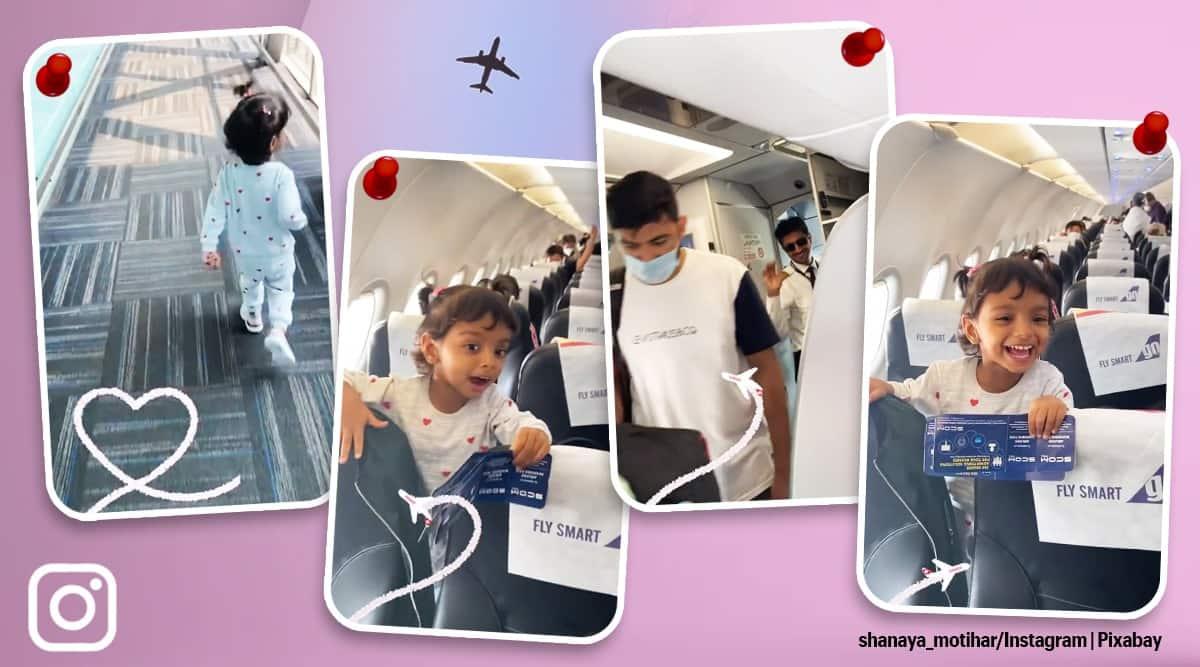 girl's pilot dad viral video, girl's reaction on seeing father viral video, girl father viral clip, pilot father, trending, indian express,indian express news