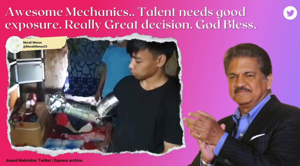 ironman suit, manipur boy ironman suit, anand mahindra, mahindra group support imphal ironman suit boy, imphal boy use scrap items ironman suit, good news, indian express