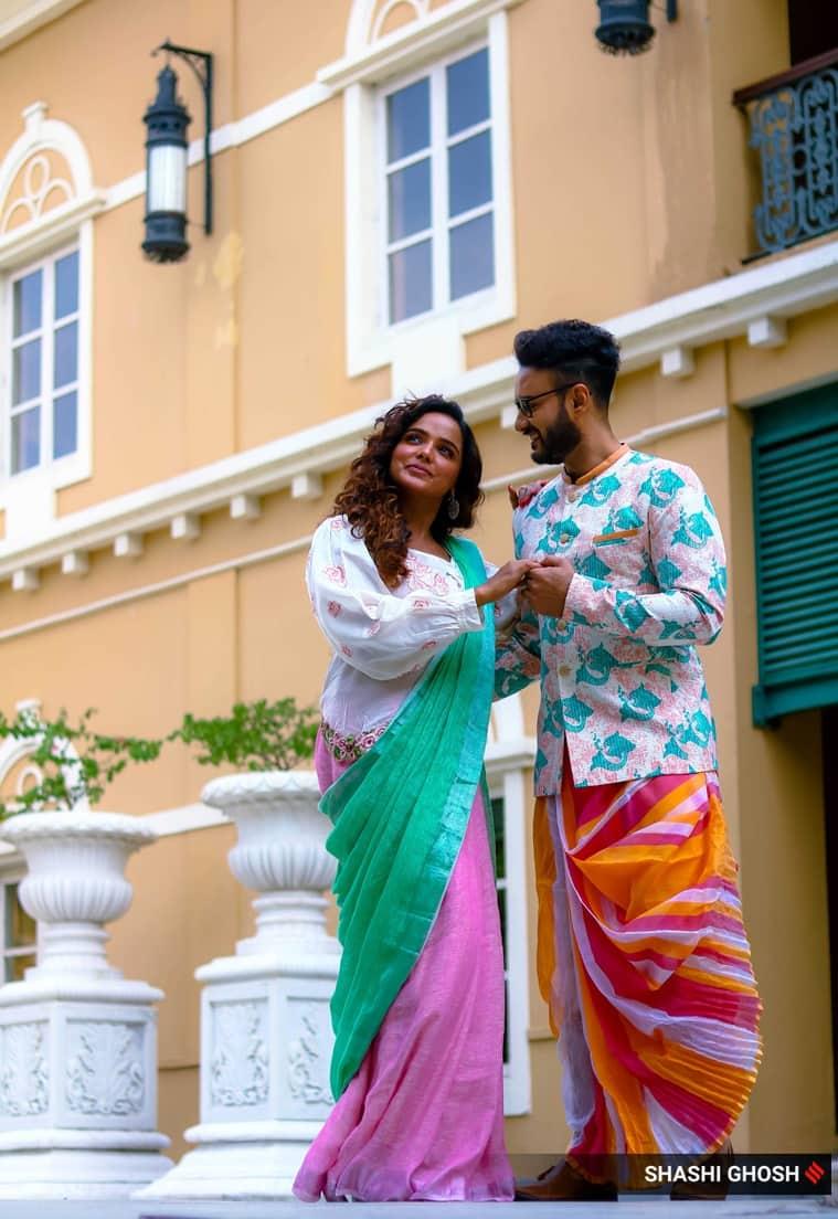 tuhina das, durga puja fashion , shaheb bhattacharya