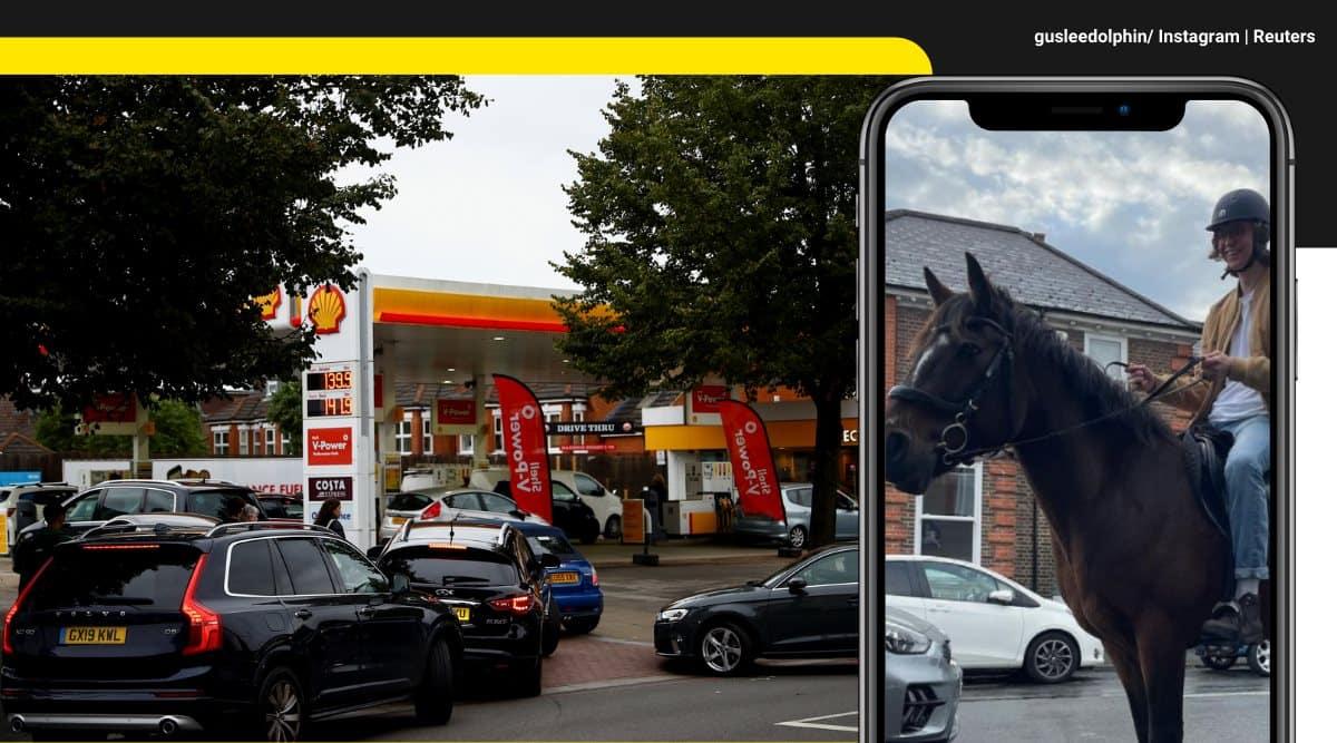 britain fuel crisis, uk petrol shortage, uk fuel panic buying, uk fuel tank drivers shortage, man rides horse petrol crisis, viral videos, indian express