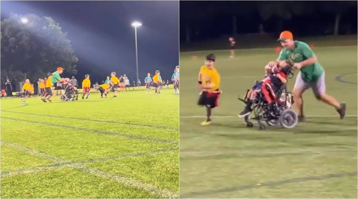 florida wheeelchair kid touchdown, disabled child touch down, disabled kid extra player school football league, viral news, good news, indian express